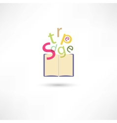 Letters in the open book vector image vector image