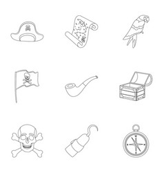 pirates set icons in outline style big collection vector image vector image