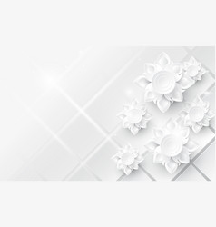white abstract flowers asian pattern background vector image vector image