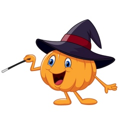 Cartoon pumpkin holding magic wand vector image