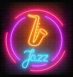 neon jazz cafe with saxophone glowing sign with vector image