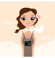 Vacation tourist girl with flower in hair vector image