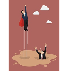 Businessman superhero get away from puddle of vector image vector image