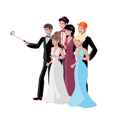 selfie photo composition with people and vector image vector image