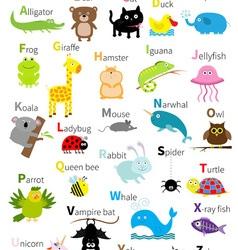 Animal zoo alphabet Cute cartoon character set vector image vector image