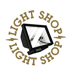 Color vintage light shop emblem vector