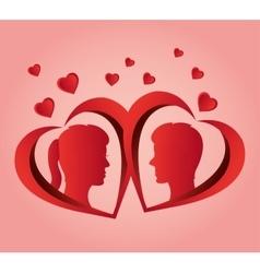 couple profile love heart design vector image