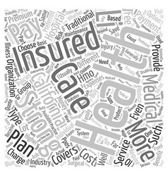 Different Types of Health Insurance in California vector image vector image