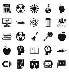 Discoveries icons set simple style vector