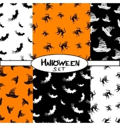 Halloween icons seamless pattern from animals hat vector image vector image