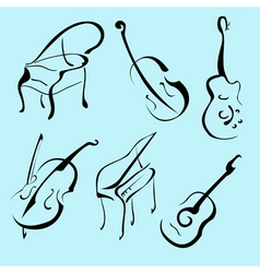 music instruments design set vector image