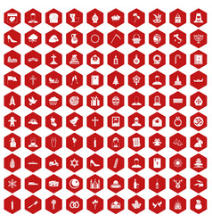 100 church icons hexagon red vector image