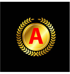 A letter gold template design vector
