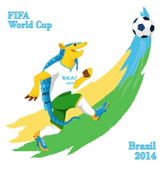 Armadillo playing football FIFA World Cup mascot vector image