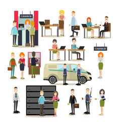 Bank people flat icon set vector