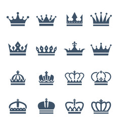 black crowns symbols for luxury logos and badges vector image
