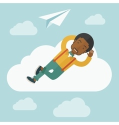 Black man lying on a cloud with paper plane vector