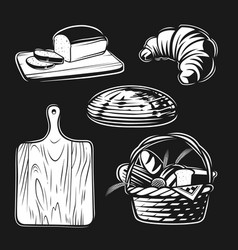 bread hand set in graphic style vector image