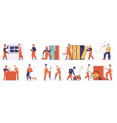 building construction workers professional vector image