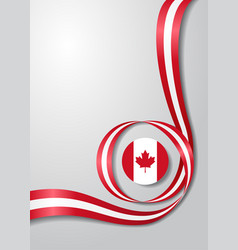 canadian flag wavy background vector image