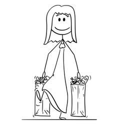 cartoon happy smiling woman carrying big vector image