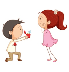 Cartoon marriage proposal vector
