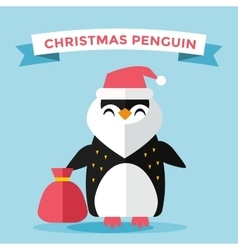 Cartoon penguin character vector image