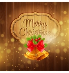 Christmas decoration on the wooden background vector image