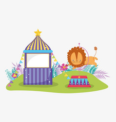 Circus store with lion jumping the hoop vector