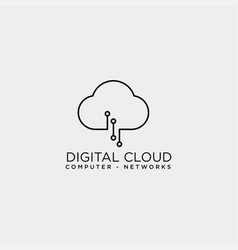 cloud digital technology line logo template vector image