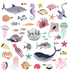 collection cute underwater animals vector image