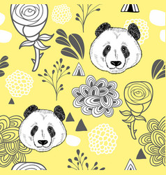 Colorful seamless pattern with cute panda vector