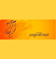 creative ganesh chaturthi banner design vector image