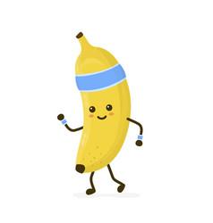 cute smiling happy strong banana running vector image