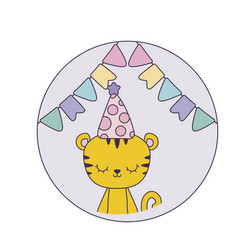 Cute tiger with hat party in frame circular vector