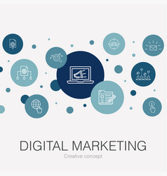 digital marketing trendy circle template with vector image