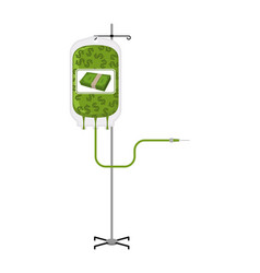 donation money bag on drip stand transfusion of vector image