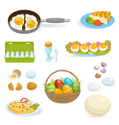 Eggs healthy food for breakfast omelet with vector