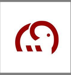 elephant logo monoline art vector image