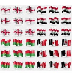 England Iraq Burkia Faso Udmurtia Set of 36 flags vector
