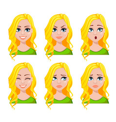 Face expressions of student woman vector
