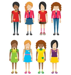 Faceless little girls without faces vector