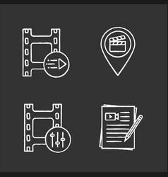 film industry chalk icons set vector image