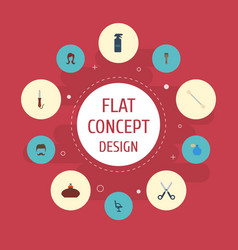 Flat icons moustache elbow chair deodorant and vector