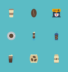 Flat icons package latte arabica bean saucer and vector