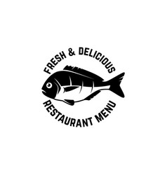 fresh seafood label template with fish design vector image
