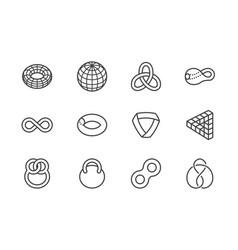 geometric shapes flat line icons set topology vector image