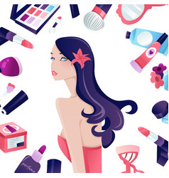 Glamorous long hair girl beauty surrounded by vector
