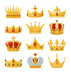 gold royal crowns set monarchy and authority vector image