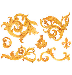 Golden baroque rich luxury elements vector
